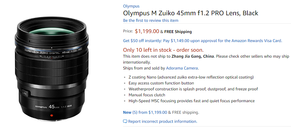 Olympus 45mm F1.2 Pro lens in stock