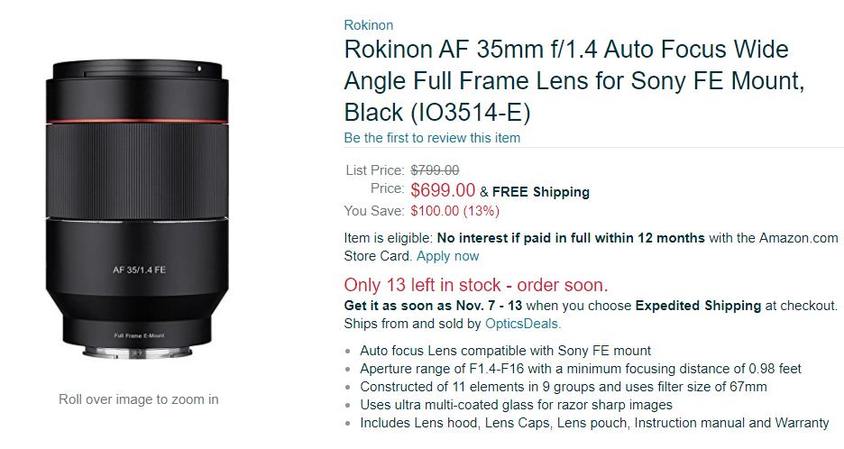 Rokinon AF 35mm F1.4 lens