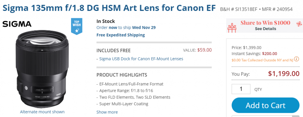Sigma 135mm F1.8 deal