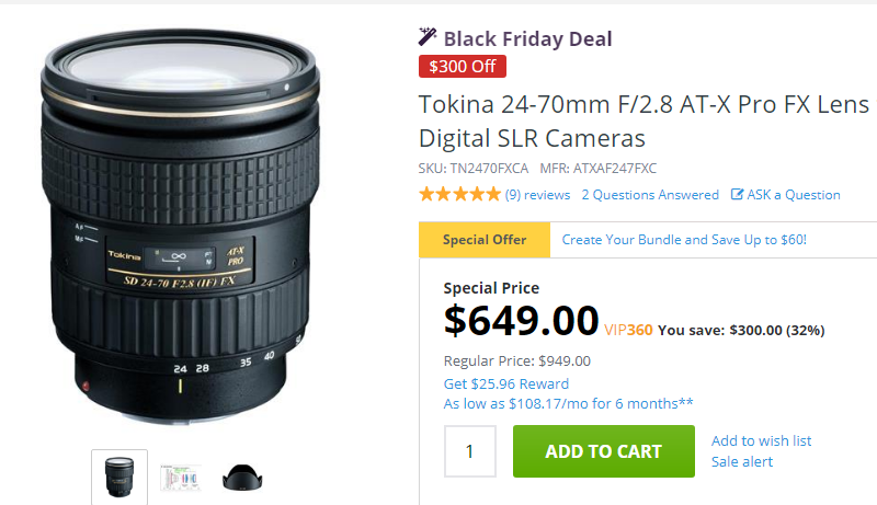Tokina 24-70mm F2.8 AT-X Pro lens deal