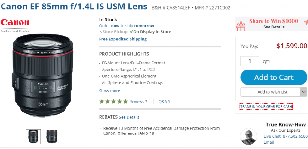 Canon EF 85mm F1.4L IS USM lens in stock