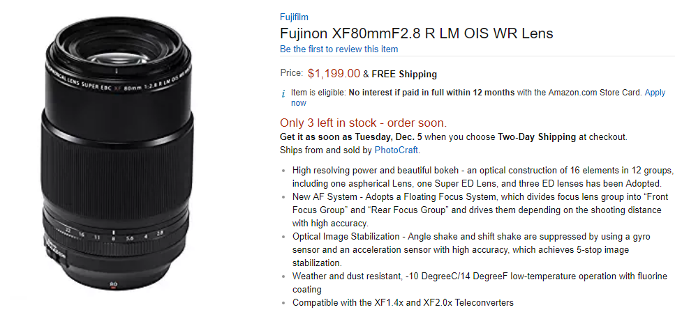 Fujifilm XF 80mm F2.8 Macro lens in stock
