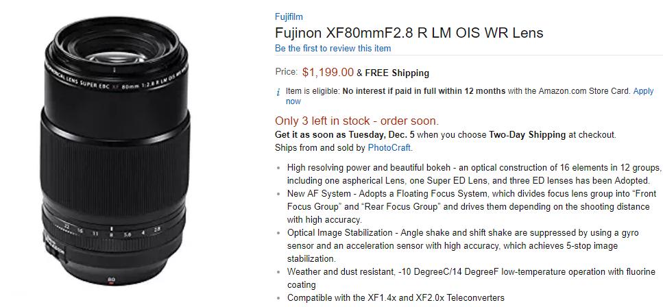 Fujifilm XF 80mm F2.8 Macro lens in stock