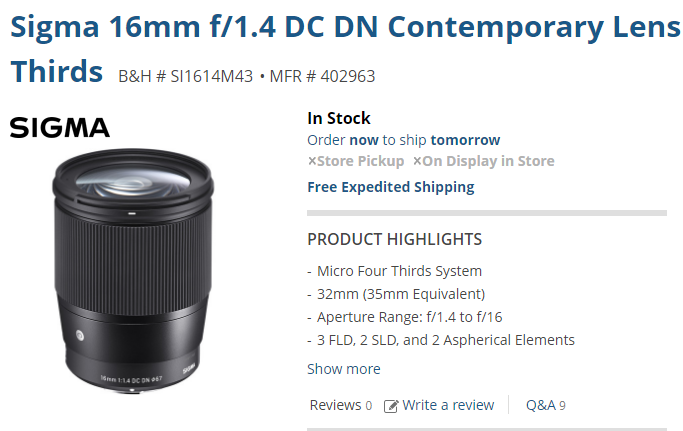 Sigma 16mm F1.4 DC DN C lens in stock