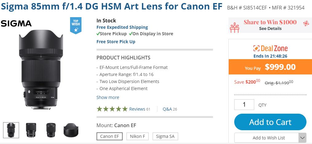 sigma 85mm F1.4 DG Art lens deal