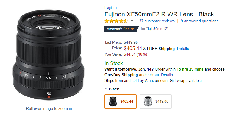 Hot Deal: Fujinon XF 50mm F2 R WR Lens for $405.44 at Amazon