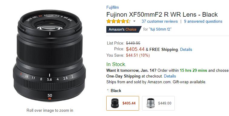 Fujifilm XF 50mm F2 R WR lens deal
