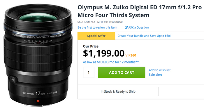 Olympus 17mm in stock