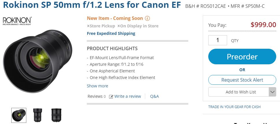 Rokinon XP 50mm f1.2 lens for pre-order