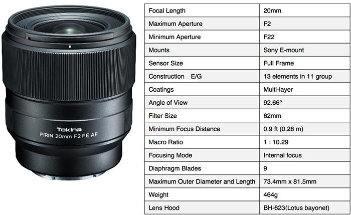 Tokina Firin 20mm F2 FE AF lens