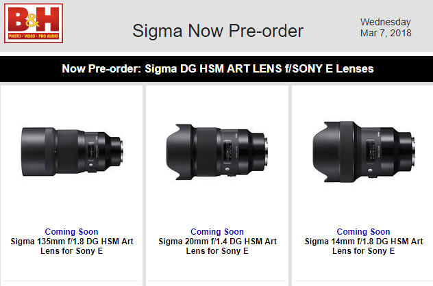 Sigma DG ART lens for Sony E