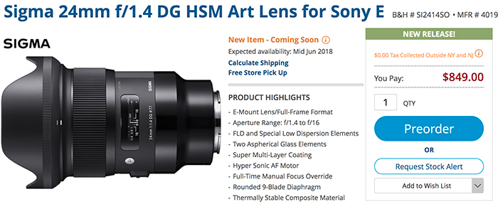 Sigma24mm F1.4 for Sony FE