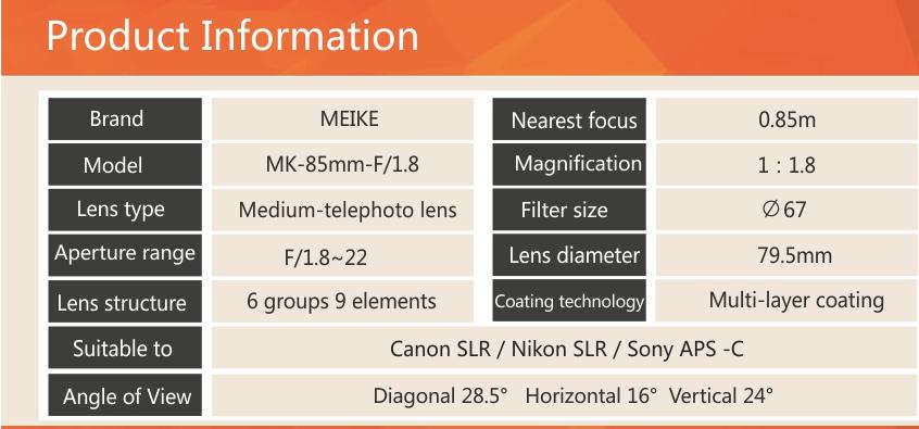 Meike 85mm F1.8 lens 4