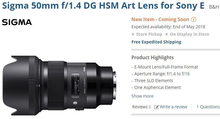 Sigma FE 50mm F1.4 DG ARt lens