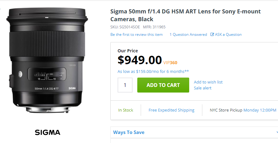 Sigma 50mm F1.4 DG ART lens for sony