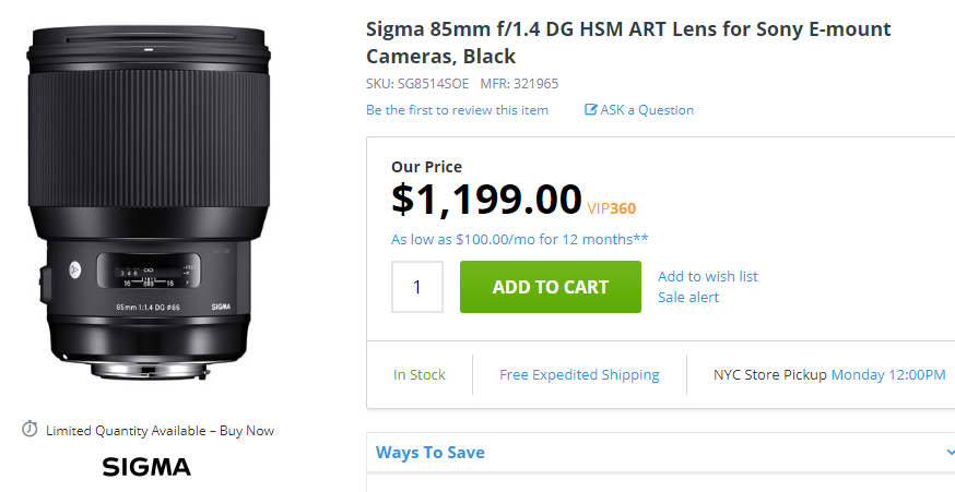 Sigma 85mm F1.4 DG ART for sony