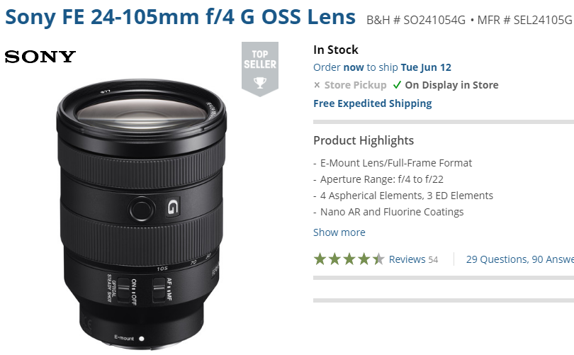 Sony FE 24-105mm lens in stock