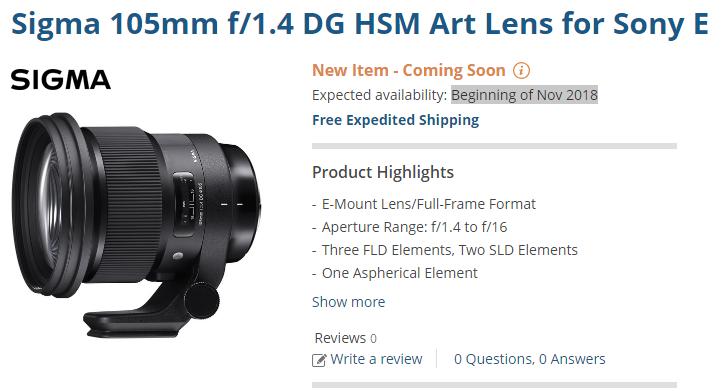 Sigma 105mm F1.4 DG Art lens for sony E