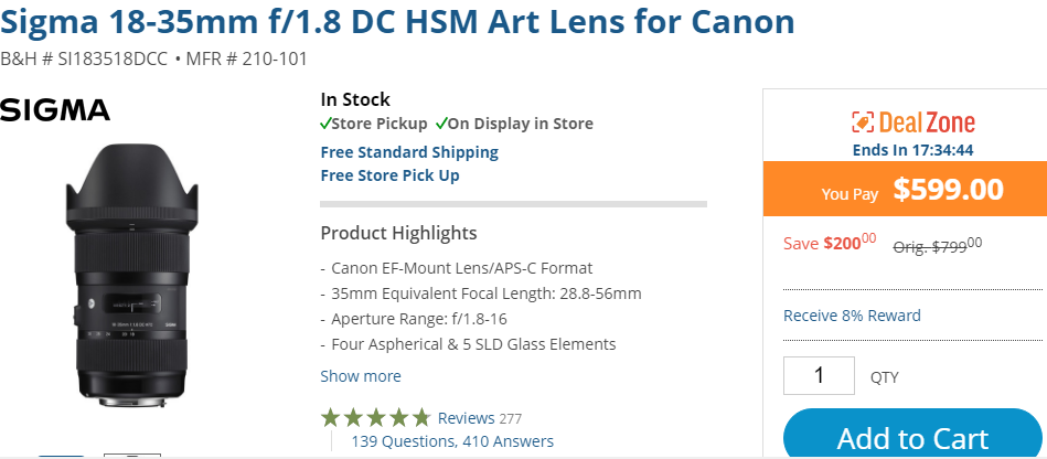 Sigma 18-35mm F1.8 DC lens deal