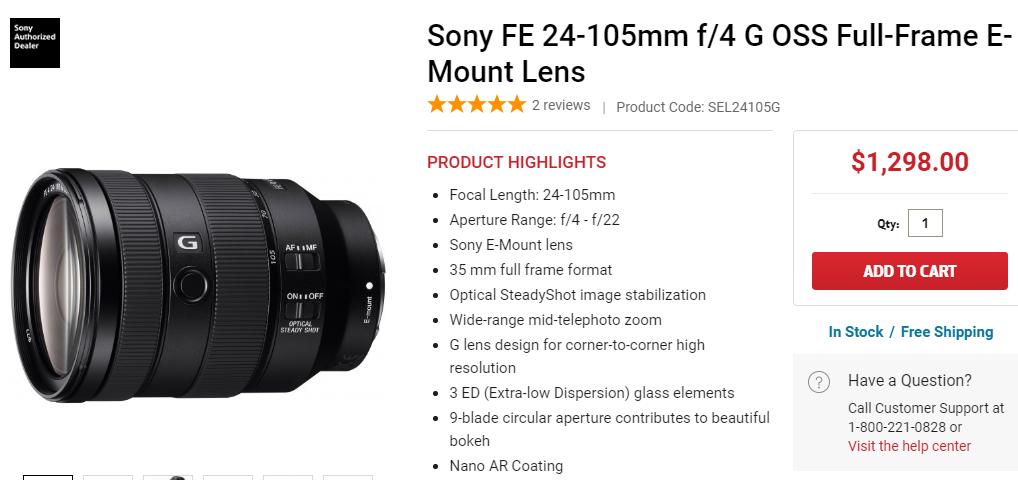 Sony FE 24-105mm F4 Lens in stock