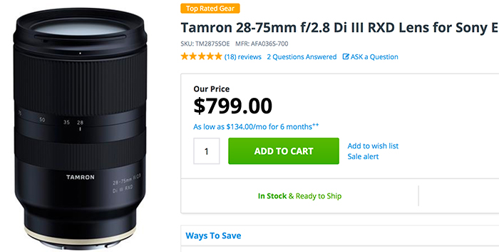 Tamron 28-75mm f 2.8 Di III RXD Lens in stock