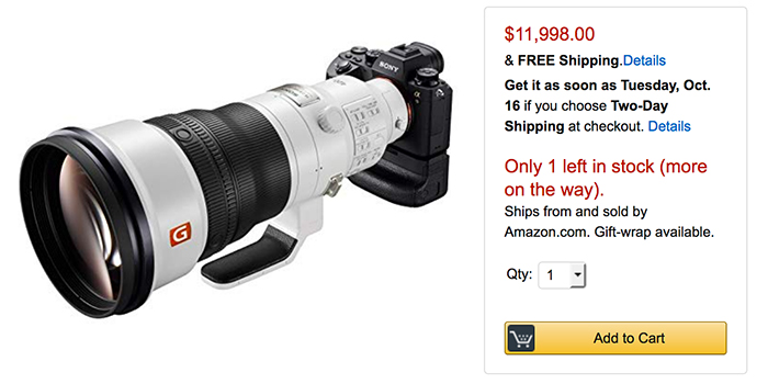 Sony FE 400mm F2.8 in stock