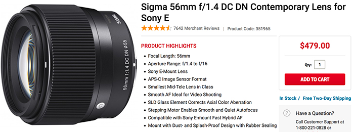 sigma 56mm in stock