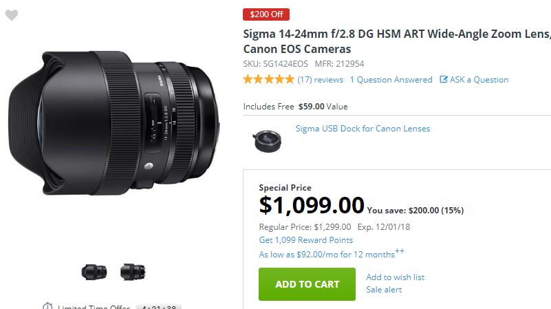 Sigma 14-24mm F2.8 DG ART deal