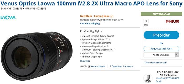 Laowa 100mm F2.8 lens