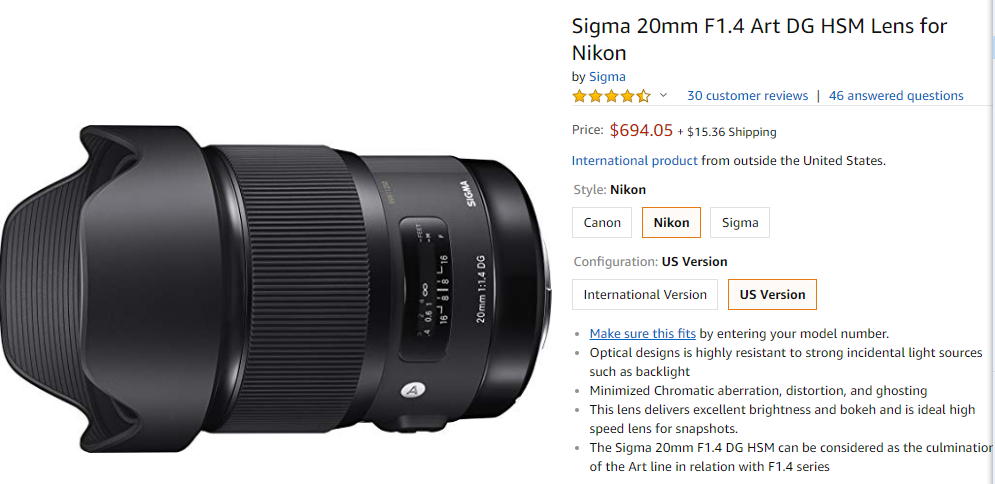 Simga 20mm F1.4 DG a lens deal