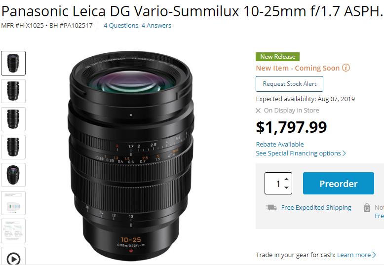 Panasonic leica DG 10-25mm F1.7 lens