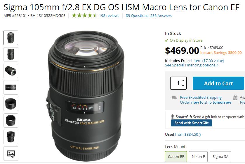 Sigma 105mm F2.8 EX DG OS HSM Macro lens deal