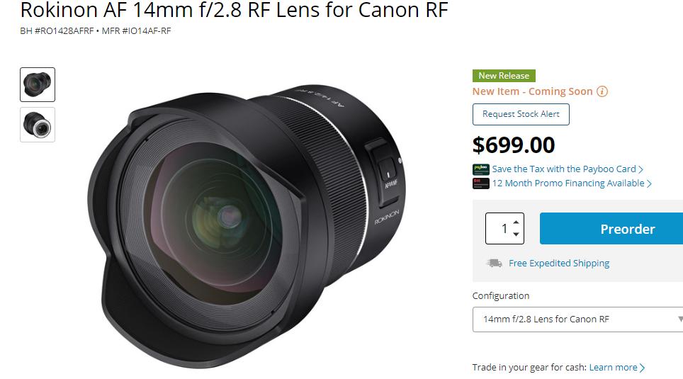 Rokinon AF 14mm F2.8 RF lens