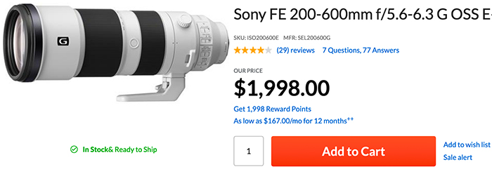 Sony FE 200-600mm