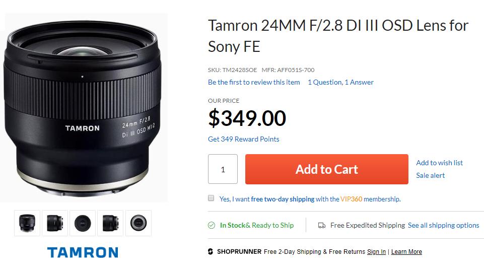 Tamron 24mm F2.8 DI III in stock
