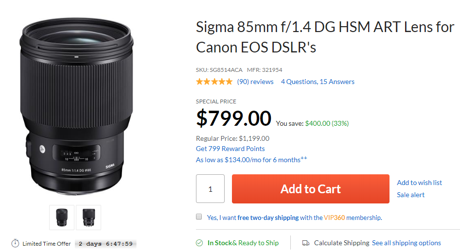 sigma 85mm F1.4 lens deal