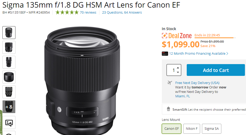 sigma 135mm F1.8 lens deal
