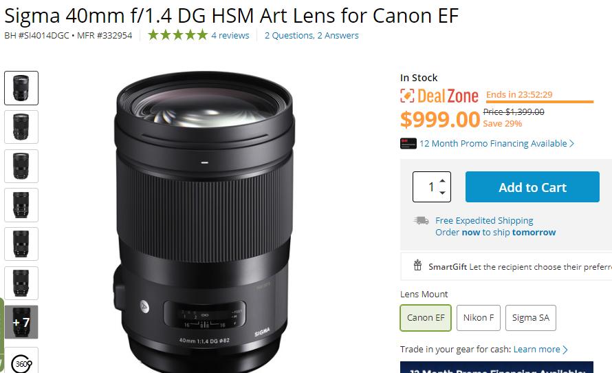 Sigma 40mm F1.4 DG Art lens deal