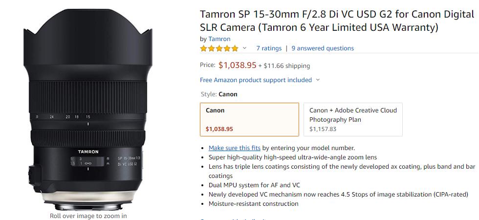 Tamron sp 15-30mm F2.8 G2 lens deal