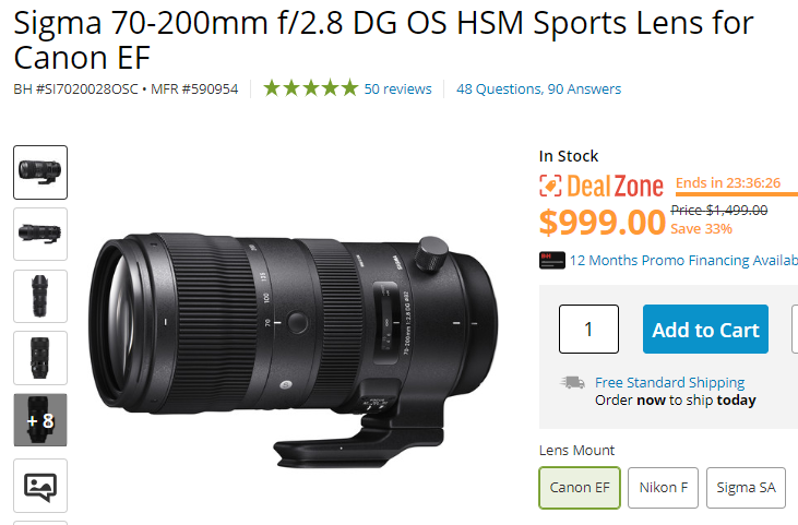 Hot Deal: Sigma 70-200mm f/2.8 DG OS HSM Sports Lens for $999!