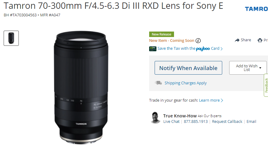 Tamron 70-300mm F/4.5-6.3 Di III RXD Lens Listed at B&H, Pre-Order Soon