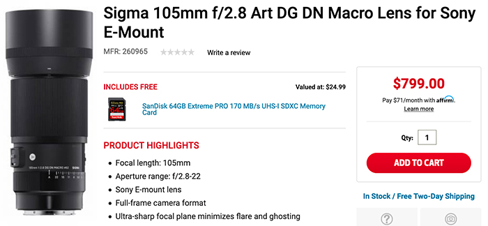 Sigma 105mm F2.8 Art DG DN Macro Lens In Stock & Shipping