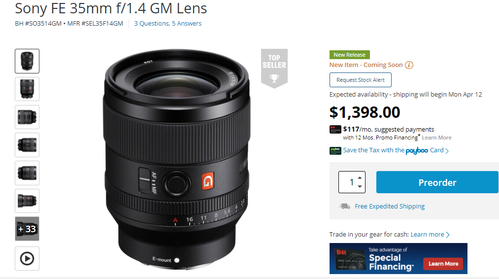 Sony FE 35mm F1.4 GM Lens to Start Shipping on April 12