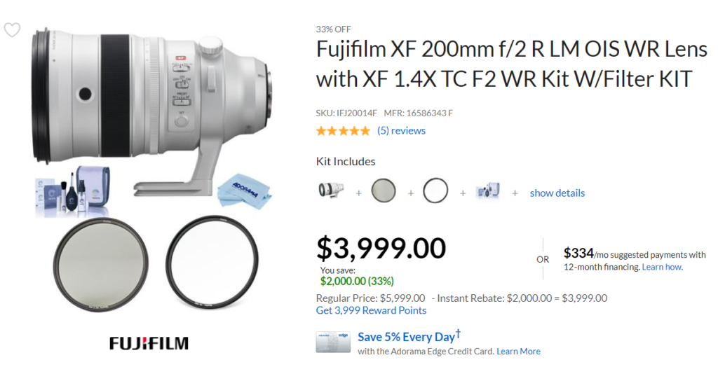Hot Deal: $2,000 Off on Fujifilm XF 200mm F2 R LM OIS WR Lens with XF 1.4x TC F2 WR Teleconverter Kit